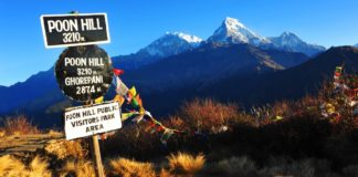 Beautiful view of Annapurna South from Poon hill at 3210 m.