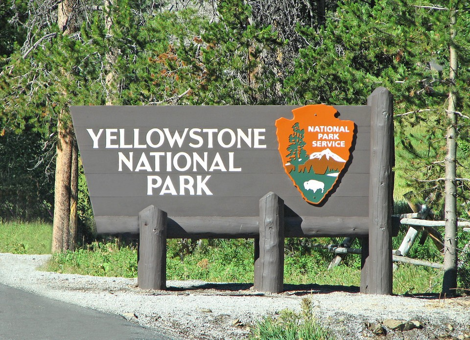 Yellowstone National Park's sign in East Entrance