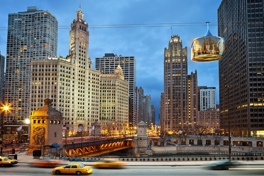 chicago-skyline-cable-car