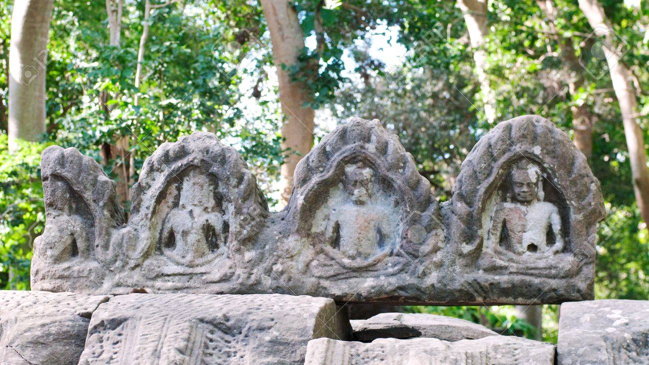 Roof decoration at the Buddhist temple Banteay Chhmar in Banteay Meanchey Province, Northwestern Cambodia.