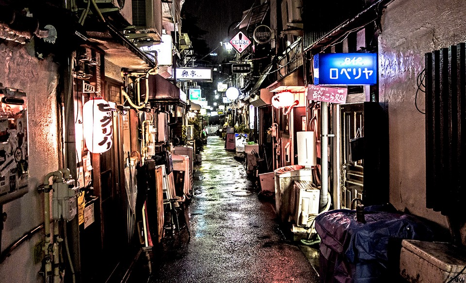 Golden Gai Tokyo narrow alley at night
