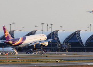 An airplane landing at Suvarnabhumi airport