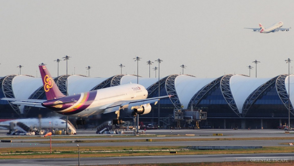 An airplane landing at Suvarnabhumi airport