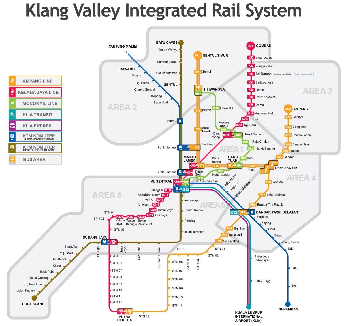 Kuala Lumpur LRT KTM and Monorail map