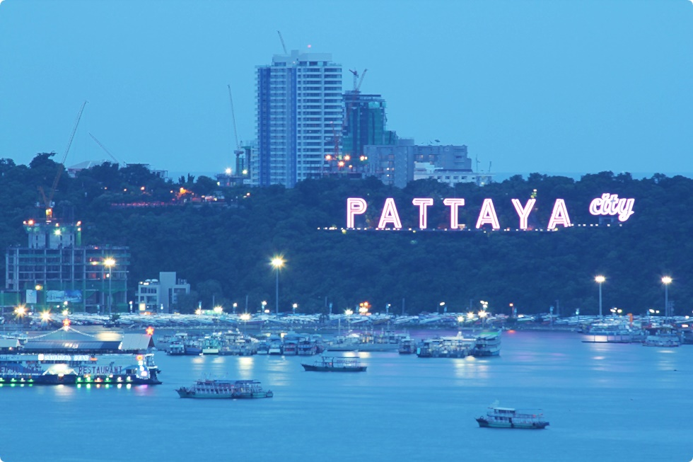 pattaya beach city at night