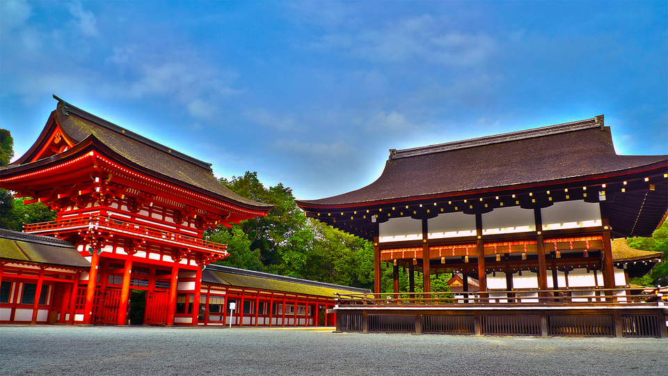 Shimogamo Shrine world heritage site in Kyoto, Japan