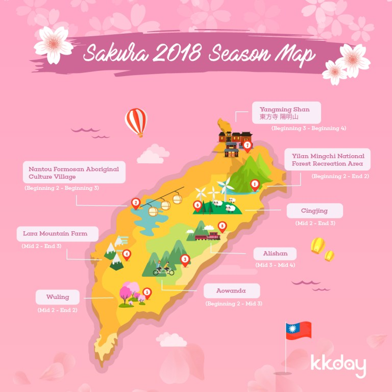 Cherry blossom in Taiwan 2018 forecast map