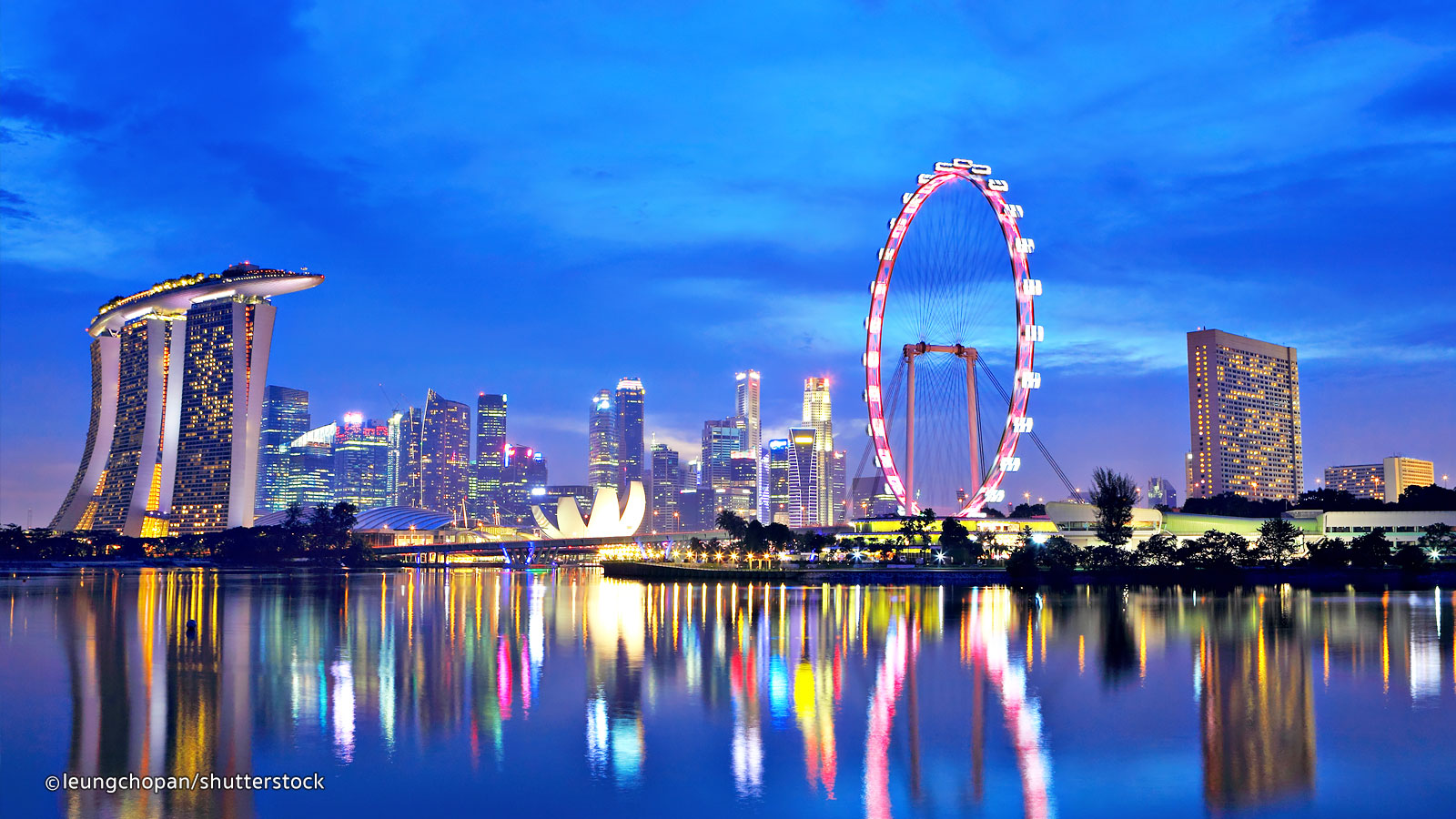 Singapore flyer and Marina bay at night