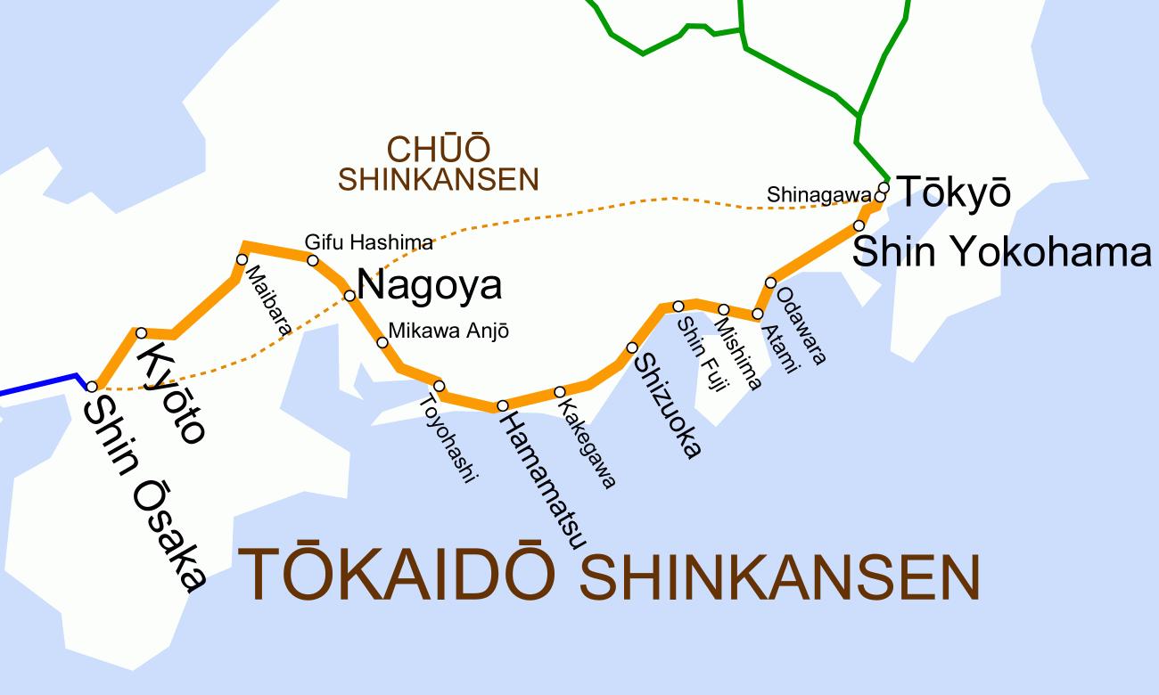 tokyo to kyoto shinkansen map