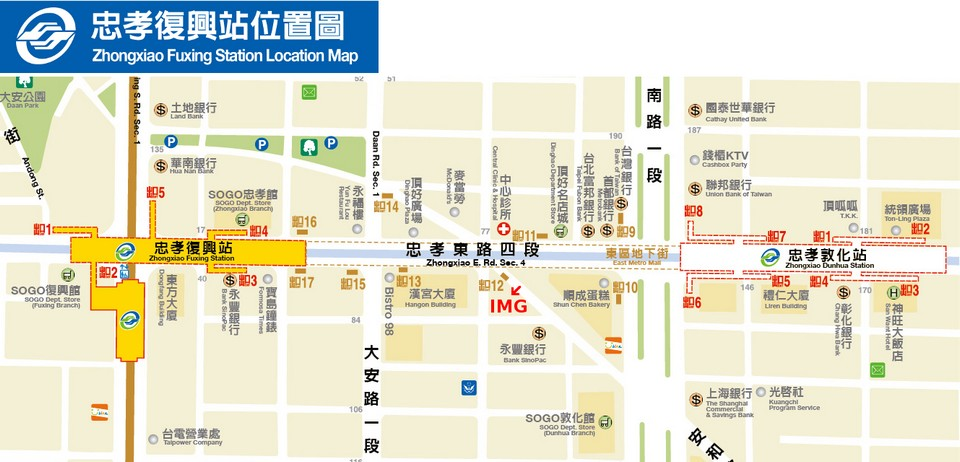 Zhongxiao Dunhua area map