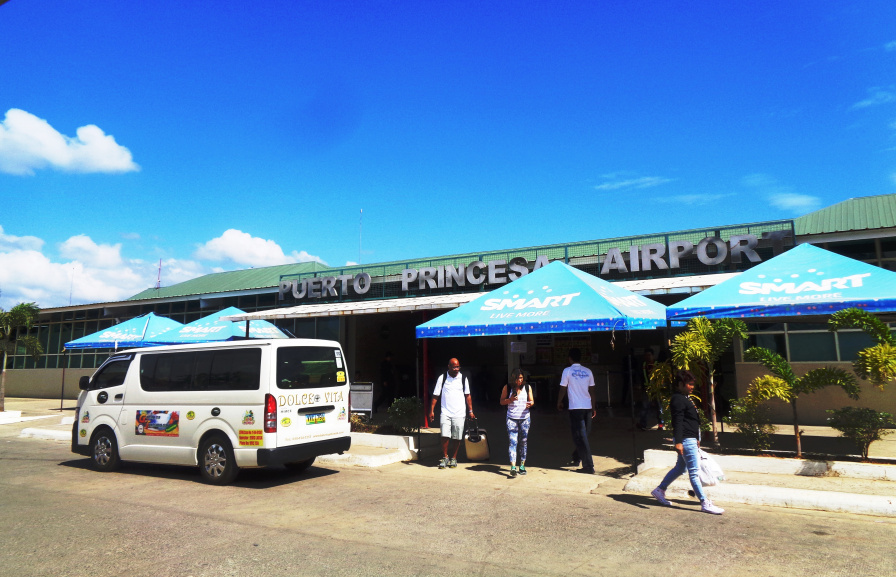 Puerto Princesa Airport front view and a Van Transfer to El Nido