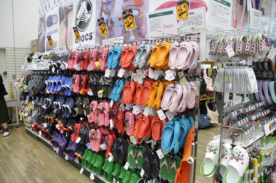 Crocs at Tokyu Hands in Shinjuku best shopping malls in tokyo tokyo shopping guide tokyo shopping center shopping area in tokyo