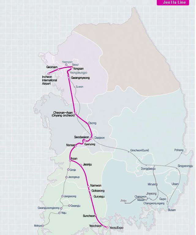 Jeolla-Korail Pass-Korea train express-way to move in korea