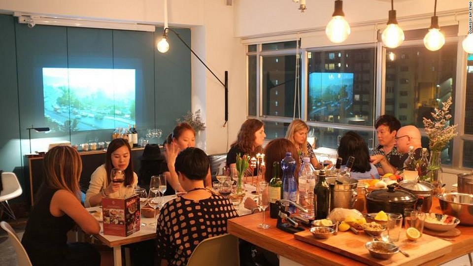 Enjoying dinner at Hong Kong restaurant