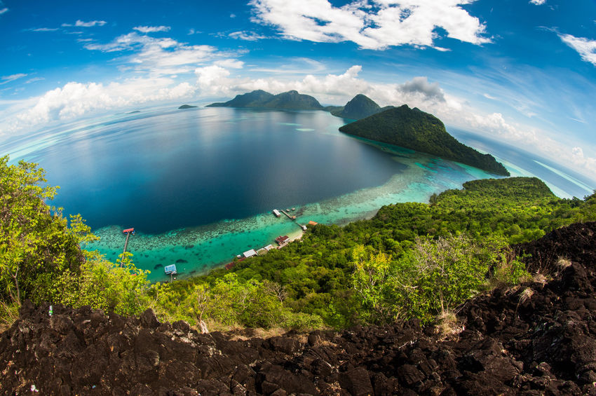 (Fish-eye view), gypsy village in Mabul Bodgaya Island in Tun Sakaran
