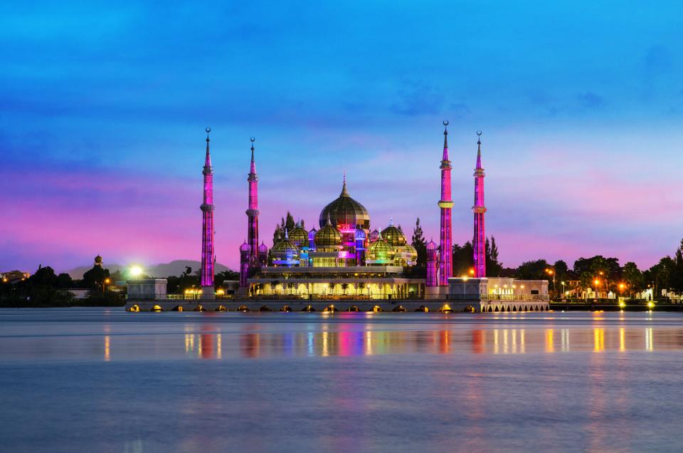 Night view of crystal mosque in Kuala Terengganu, Malaysia. Crystal mosque is beautiful mosqoe in Malaysia.