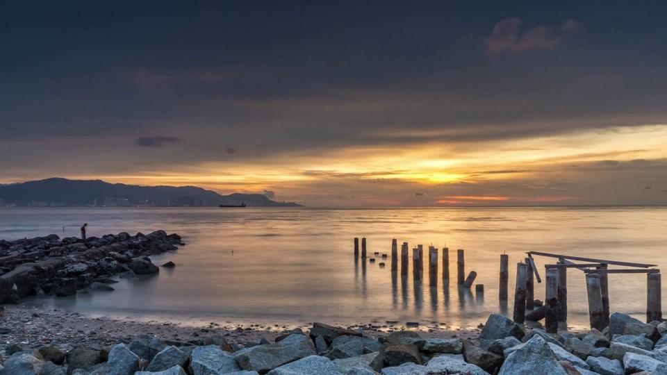 Time Lapse Sunset di Pantai Robina Teluk Air Tawar