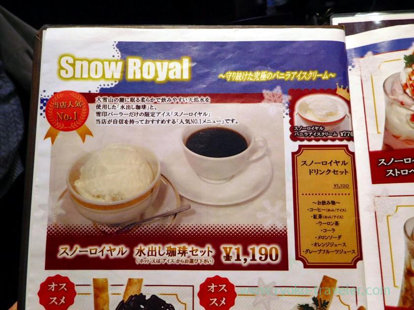 Menu snow royal, Yukijirushi Parlor honten (Sapporo)