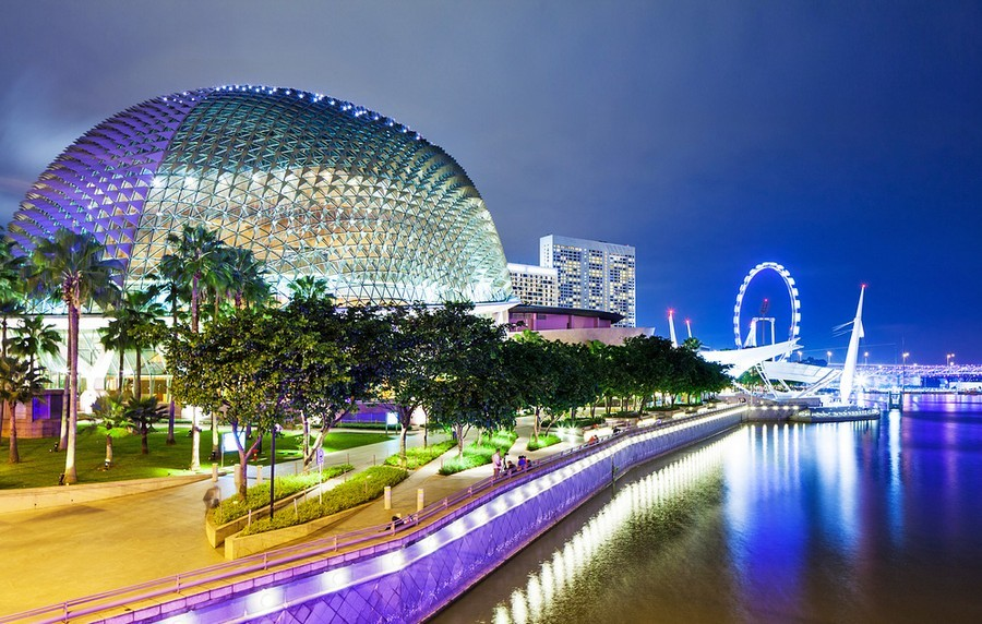 Esplanade Marina Bay Singapore Biomimicry in modern architecture spiky metal roof durian fruit