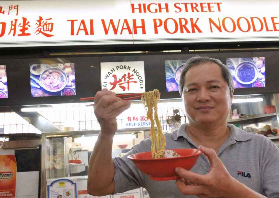Youngest brother Tang Chai Chye at his High Street Tai Wah Pork Noodle (minced pork noodle or bak chor mee) stall in Bestway Building in Prince Edward Road