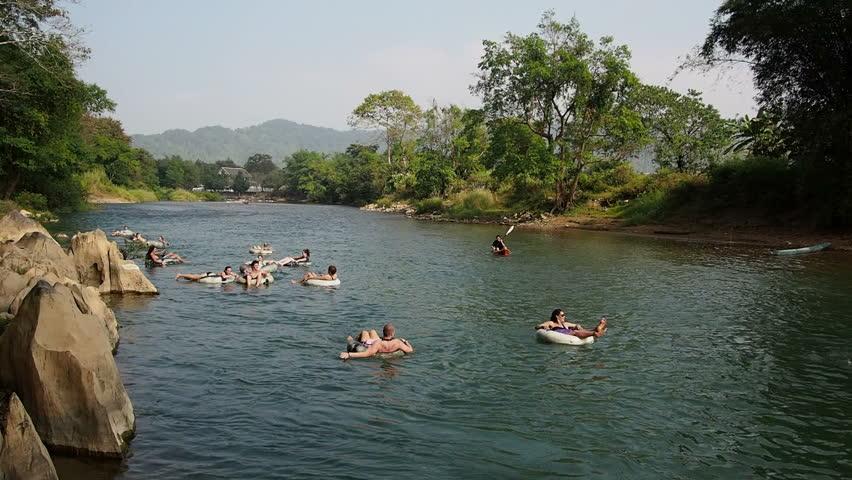 Tubing river in Vang Vieng