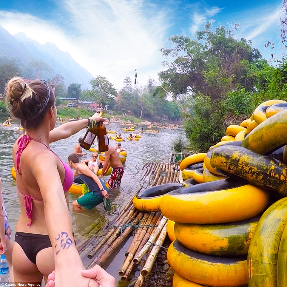 yellow tubing in vang vieng 2