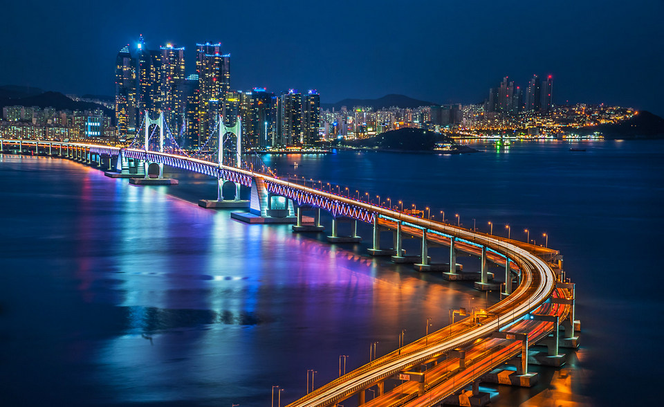 Busan night bridge