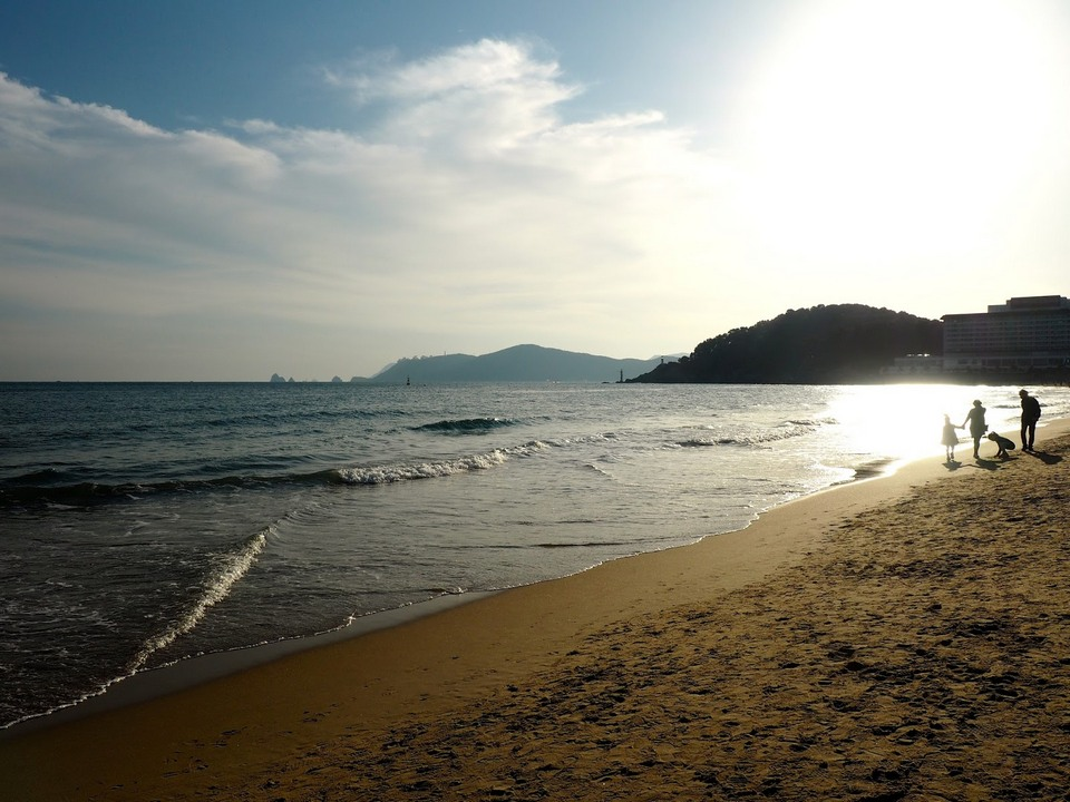 Late afternoon sunlight on Haeundae beach Busan South Korea