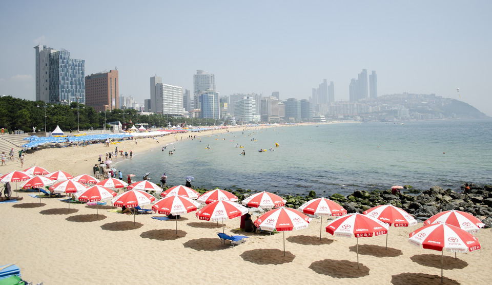 Haeundae Beach featuring a beach, general coastal views and a coastal town.