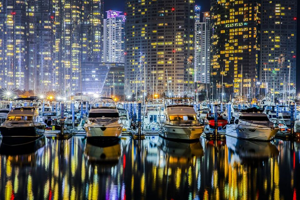 Nightscape of yachts docked at Marine City busan 2 day itinerary busan korea itinerary 2 days in busan