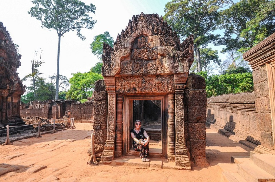 Cambodia - Sunrise at Angkor Wat - Kristy at Banteay Srei temple