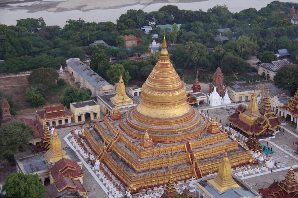 Aerial view of Shwezigon Paya. Credit image: shwezigon bagan blog.