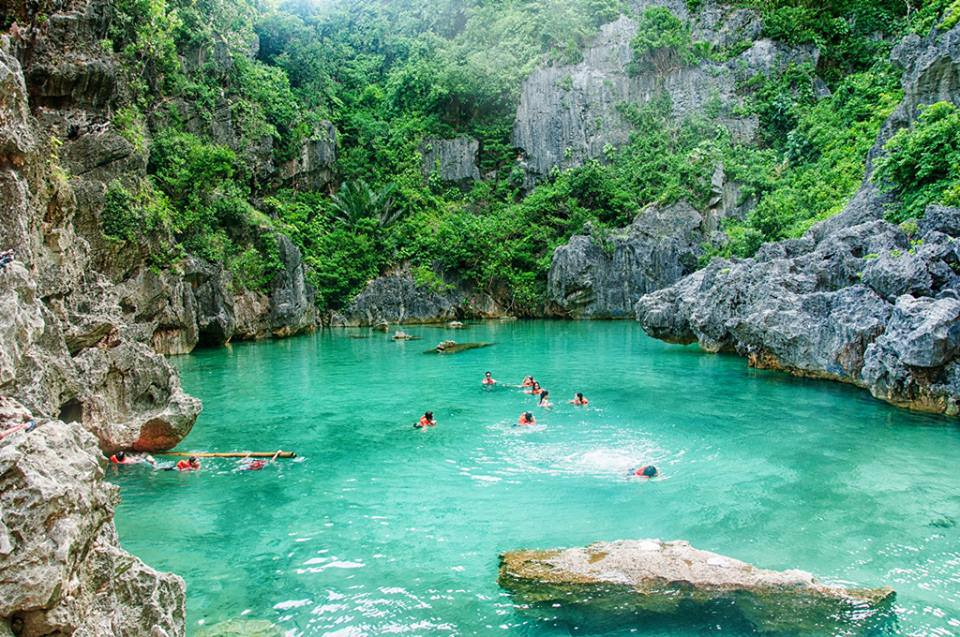 Swimming in Tangke Salt Water Lagoon, Gigantes Sur, Philippines