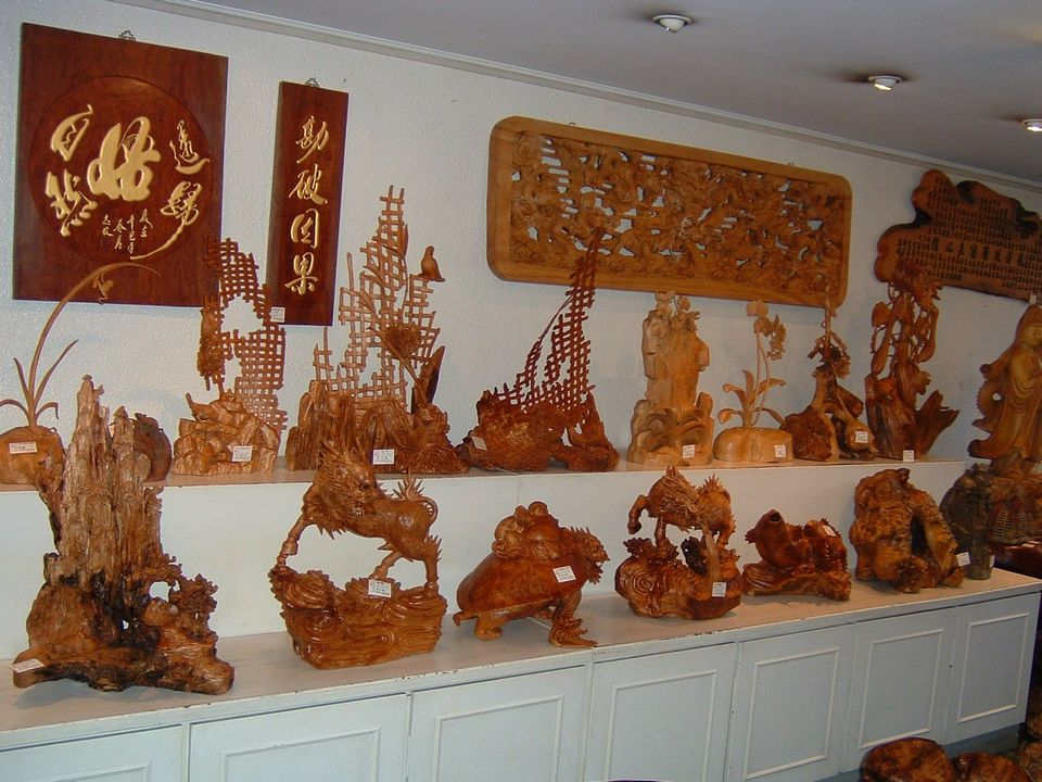 Wood carvings at Sanyi Taiwan (a wood carving village)