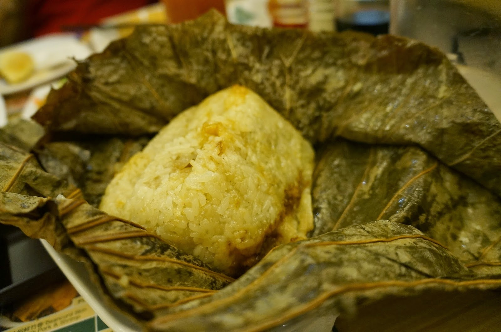 Glutinous Rice with Lotus Leaf unwrapped