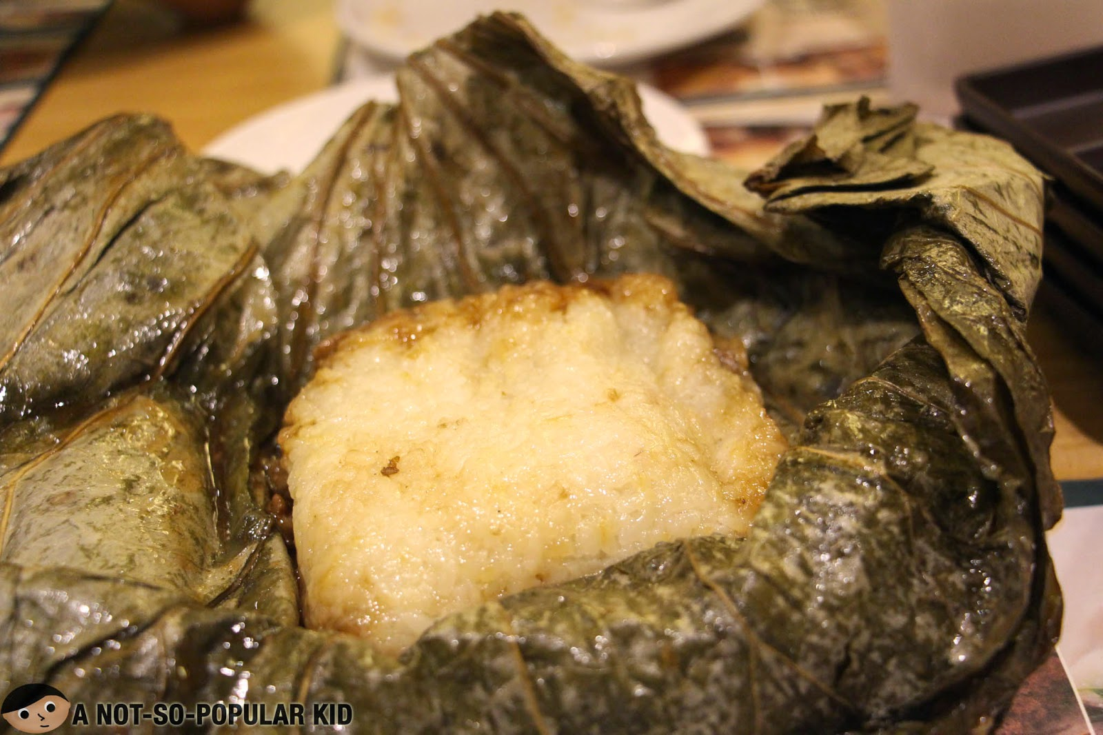 Glutinous Rice with Lotus Leaf unwrapped.