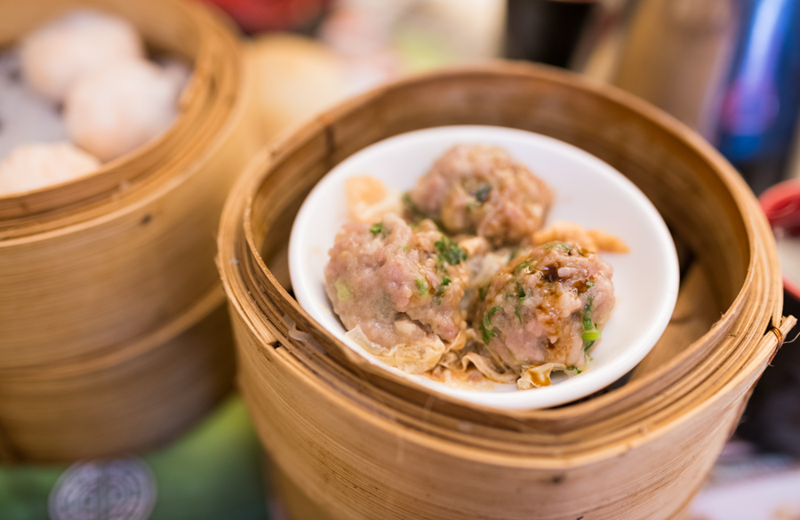 These were steamed beef balls with bean curd skin–basically, meatballs.