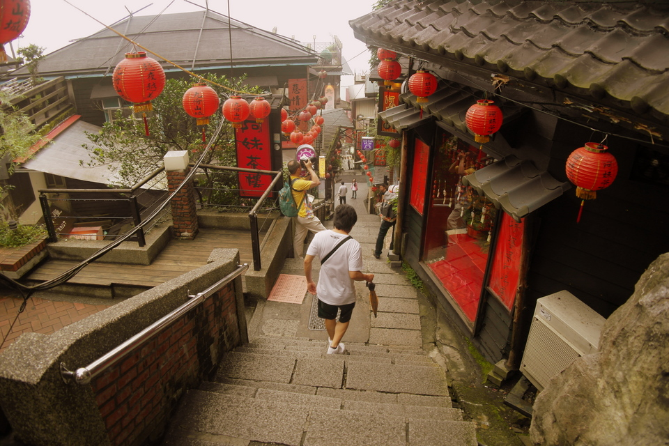Jiufen is usually very foggy but on a good day, you may get a good view from the top of the mountains ...