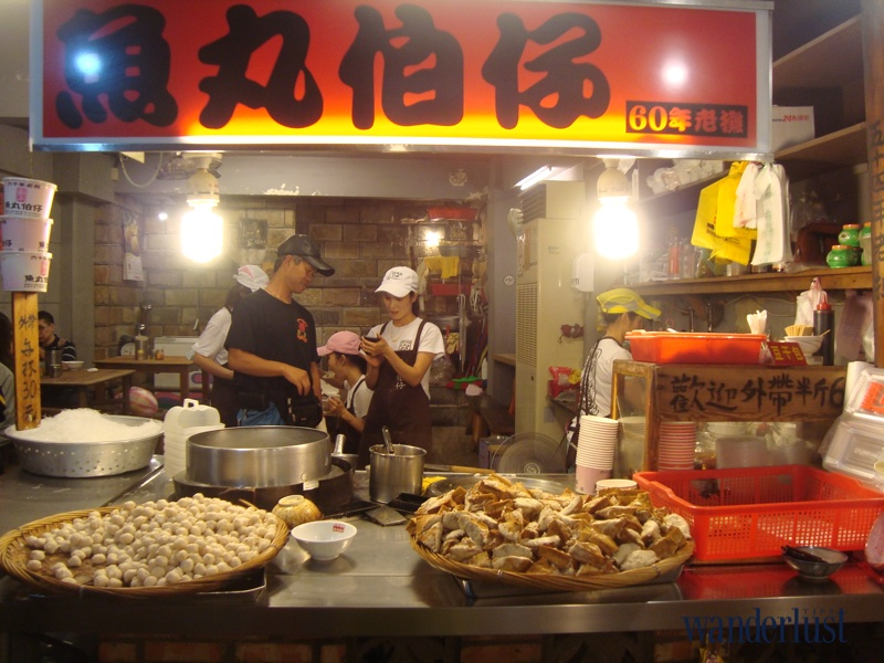 The popular restaurants are sold along the main road in Jiufen called Shuqi road (vertical and rugged road) for about ~$1.5 for fishballs fried rice noodles set.
