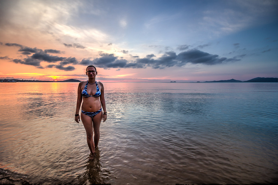 Standing in the warm water of Koh Samui, Mae Nam beach, Thailand.