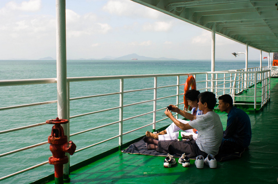 A family picnic on the ferry to Jeju Island