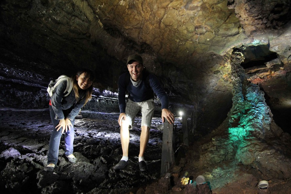 Manjanggul Lava-tube Cave showing interior views and caves