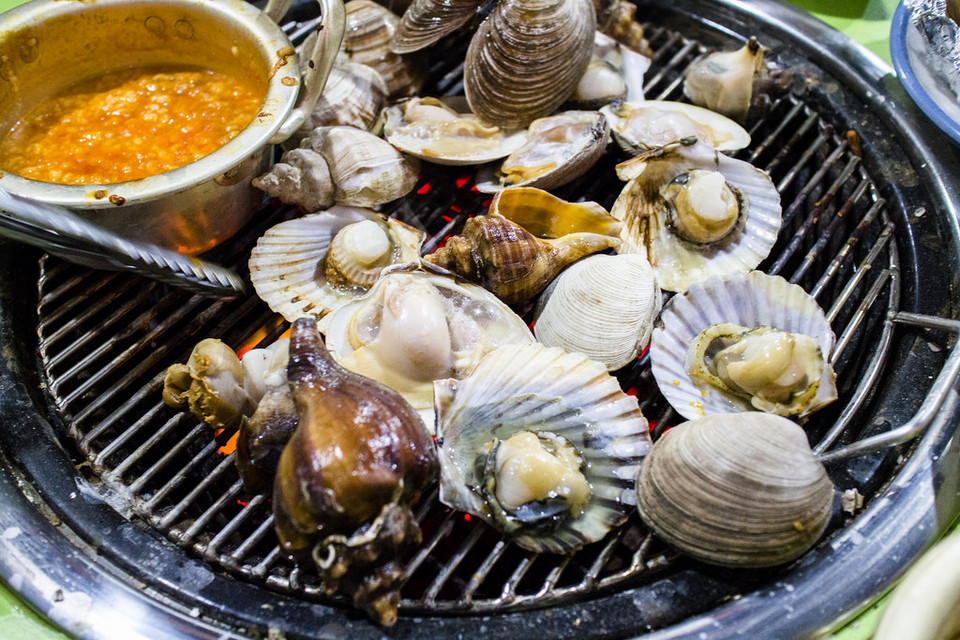 Fresh seafood grilled