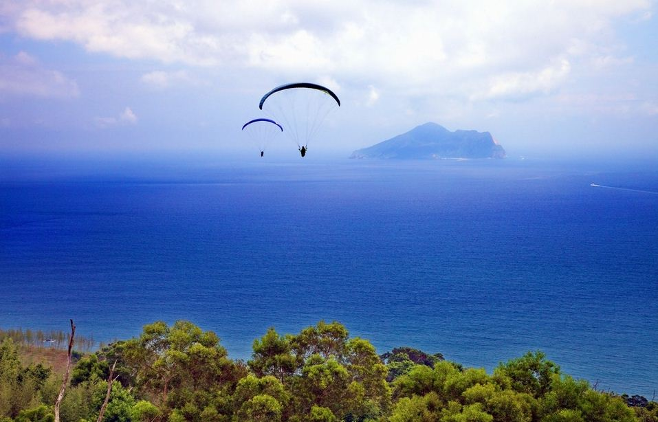 Overlooking Guishan Island (Turtle Island) from paragliding