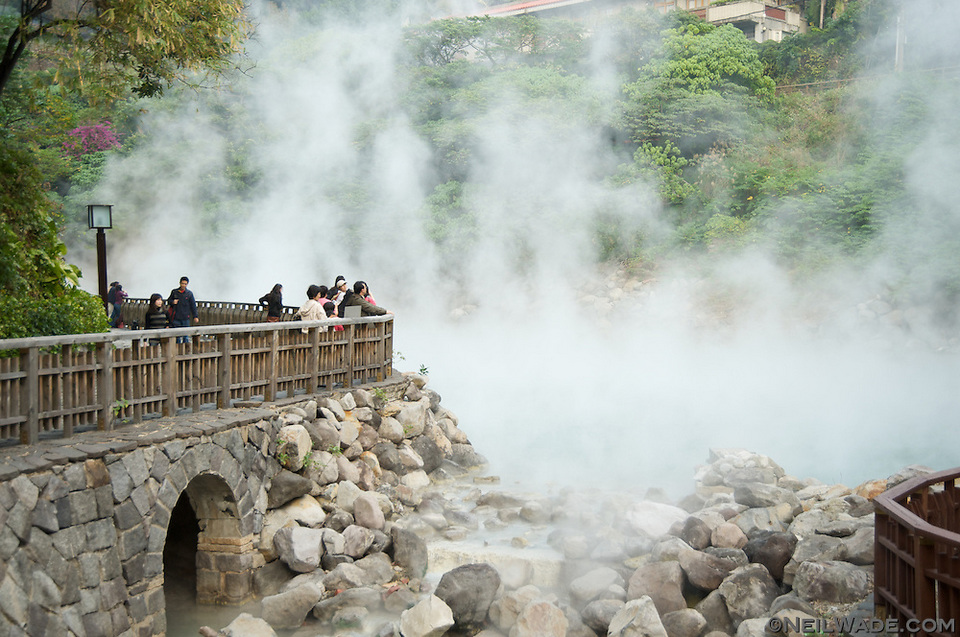 Natural hot spring water rises from Hell Valley in Taipei, Taiwan's Beitou hot.
