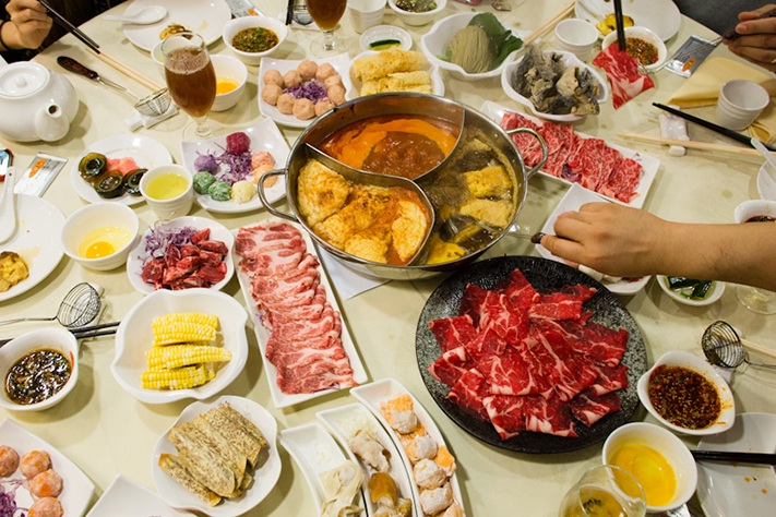 Hot pot with full dishes in Hong Kong