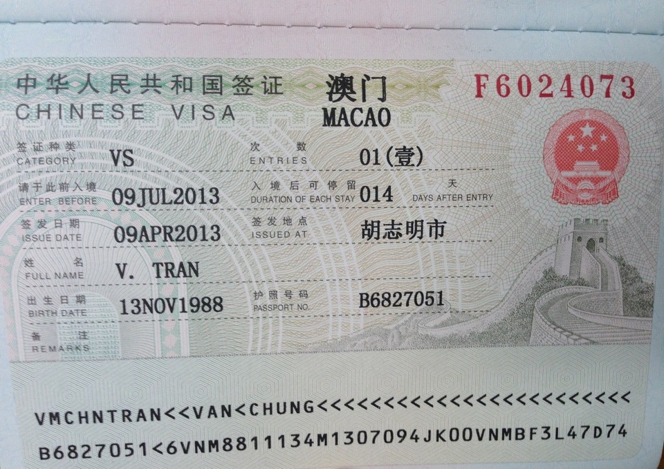 Macau visa issued by PRC 2