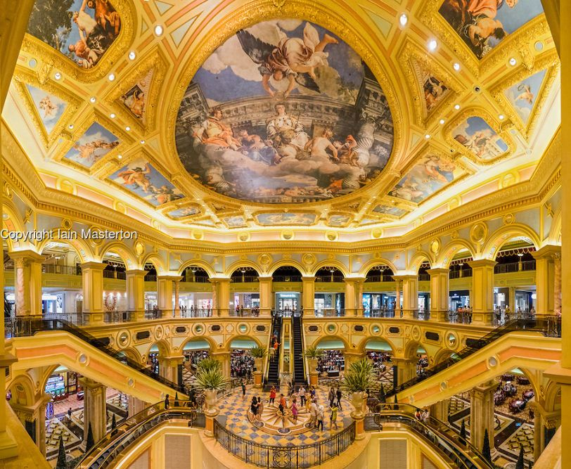 Ornate interior of The Venetian Macao casino and hotel in Macau.