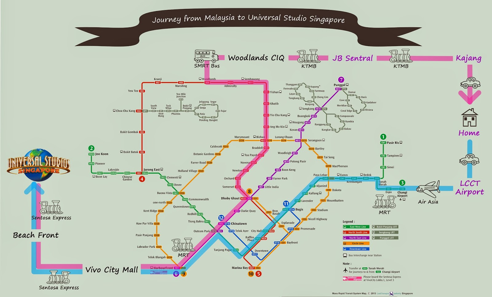 Malaysia-to-Universal-Studio-Singapore-Map