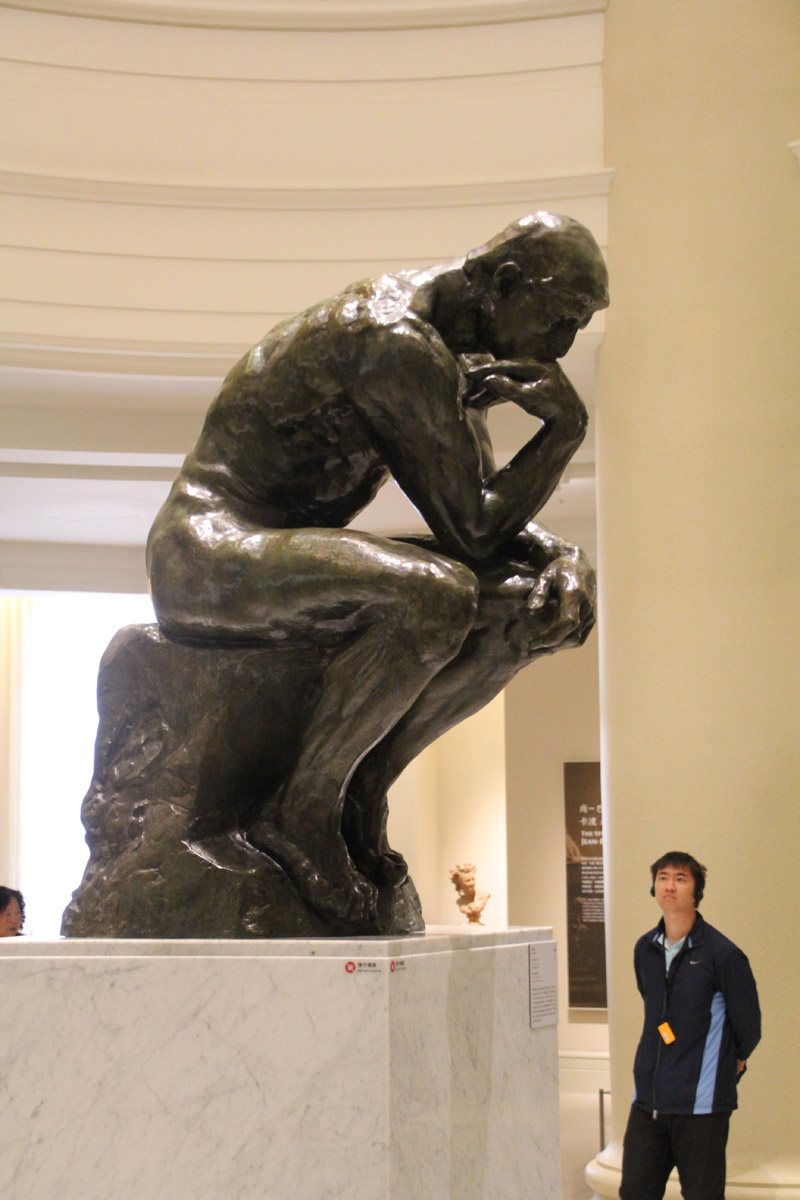 The famous Thinker statue on display in the Rodin exhibit gallery.